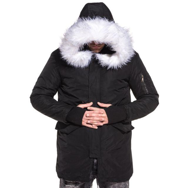 John H Parka fashion noir capuche fourrure large blanche