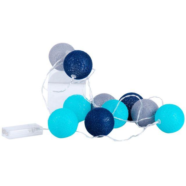 promobo guirlande boule lumineuse 10 led d co scandinave 1 5m diam tre 6cm bleu gris pas. Black Bedroom Furniture Sets. Home Design Ideas