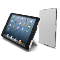 Caseink - Coque Housse Etui Smart Cover Ultra Slim iPad Mini Cuir Eco Blanche
