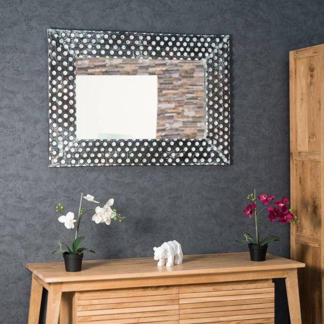 Wanda Collection Miroir en bois patiné Petits pois cérusé blanc 70 X 100