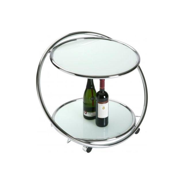 Declikdeco Table Roulante Vm Blanche En Verre Cristallo Pas Cher