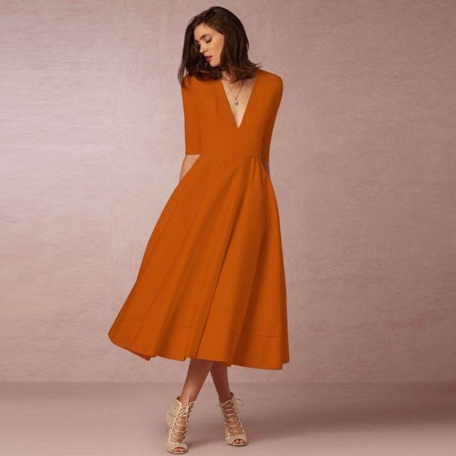 Robe Wewoo Américaine Gamme Et Européenne De Femme Haut Orange aZfFdPnqF
