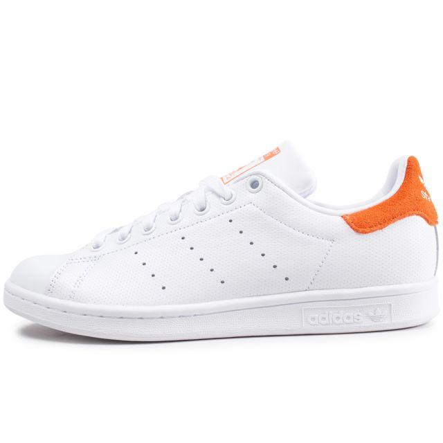 01a8d70fb15 Adidas originals - Stan Smith Blanche Et Orange - pas cher Achat ...