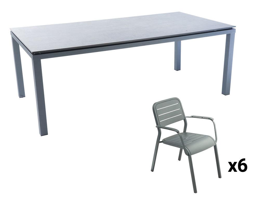 Table de jardin rectangulaire - Alu HPL - Gris et blanc + URBAN - Fauteuil de jardin Alu152 gris graphite