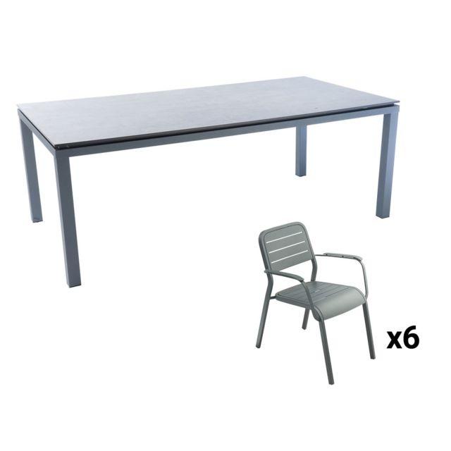 HYBA - Table de jardin rectangulaire - Alu HPL - Gris et blanc + ...