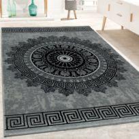 Tapis De Créateur Salon Motif Mandala Poils Ras Style Baroque Gris Noir  80X150