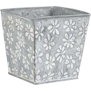 aubry gaspard cache pot en zinc motif fleurs pas cher achat vente poterie bac fleurs. Black Bedroom Furniture Sets. Home Design Ideas