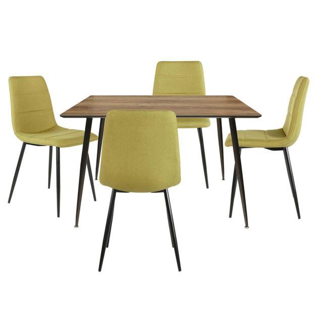 Altobuy Tivea - Ensemble Table Repas + 4 Chaises Tissu Vert