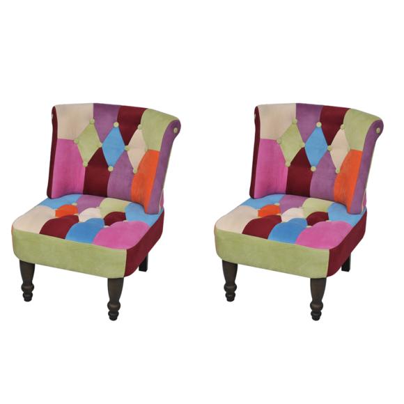 Vidaxl Lot de 2 fauteuil style France design patchwork multi couleur