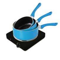 Pem - Plaque de cuisson électrique simple 1500W + Set de 3 casseroles Bleu