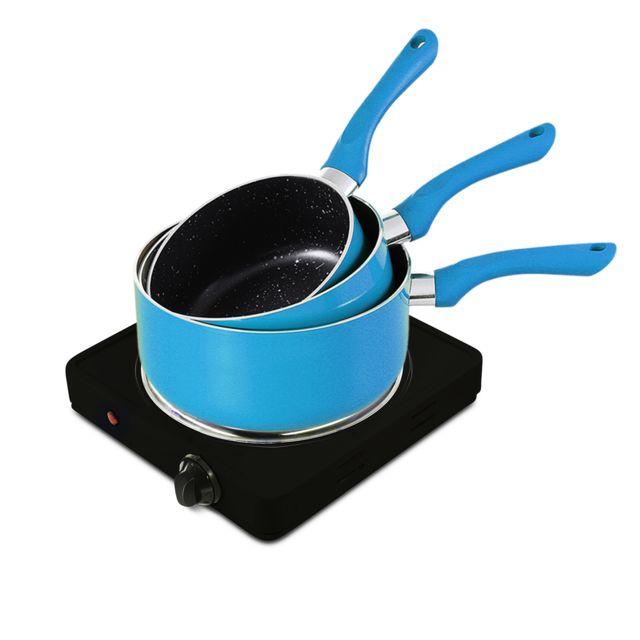 Pem Plaque de cuisson électrique simple 1500W + Set de 3 casseroles Bleu