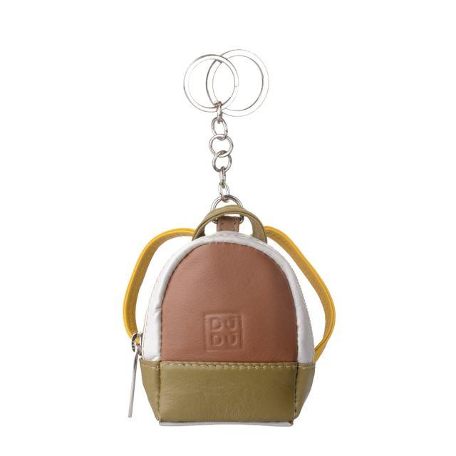 a9af4998a2 Dudu - Porte-clés à forme de Petit Sac à dos Coloré en Cuir Véritable  Multicolore avec Porte-monnaie et fermeture éclair zip Double-anneau Safari  - pas cher ...