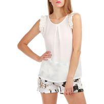 Lamodeuse - Top blanc manches courtes à froufrous