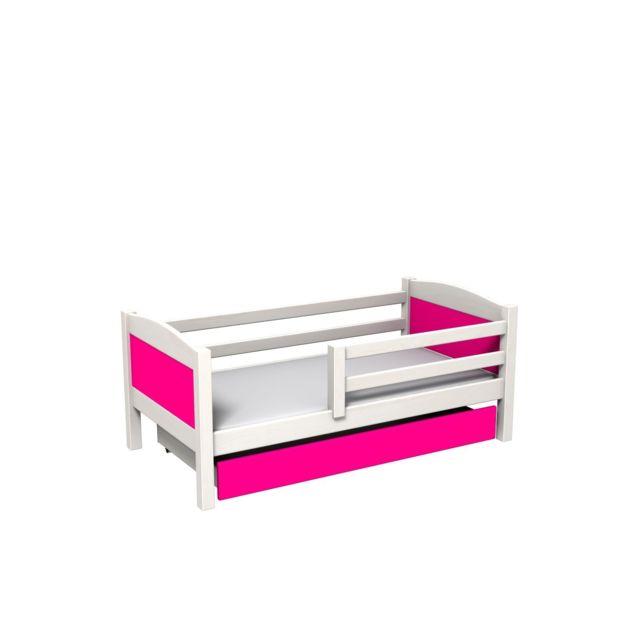 Mpc Lit avec tiroir et matelas en pin blanc panneaux roses
