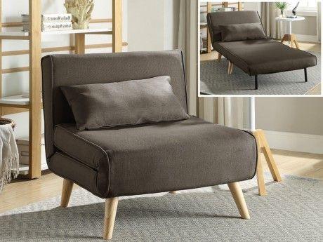 marque generique - fauteuil convertible posio en tissu - taupe - pas