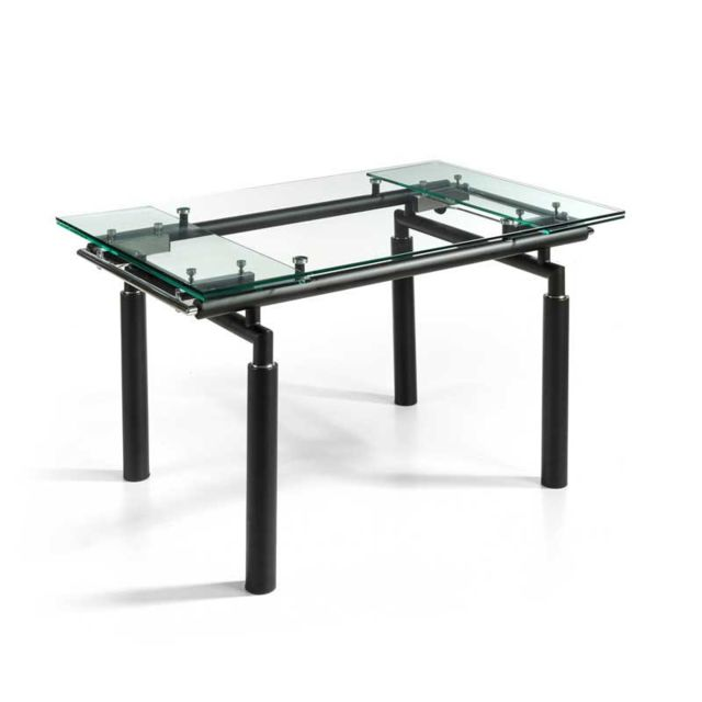 Tousmesmeubles Table de repas extensible Verre/Noir mat - Pokeno
