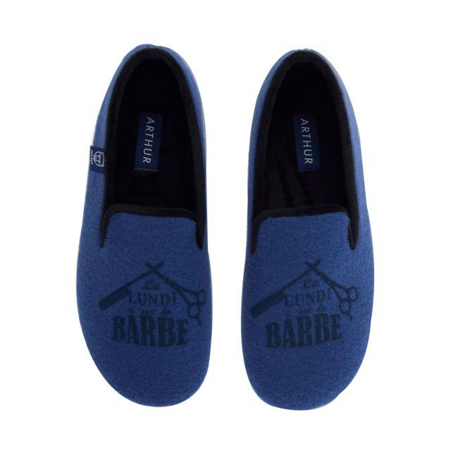 Arthur Chaussons Barbe bleu pétrole à motifs floqués  Le lundi c'est la barbe