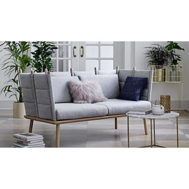 BLOOMINGVILLE Canapé 3 places en laine gris et pieds en chêne clairs Collection Nora
