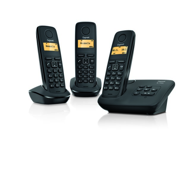 gigaset t l phone fixe sans fil avec r pondeur al 120 a trio noir pas cher achat vente. Black Bedroom Furniture Sets. Home Design Ideas