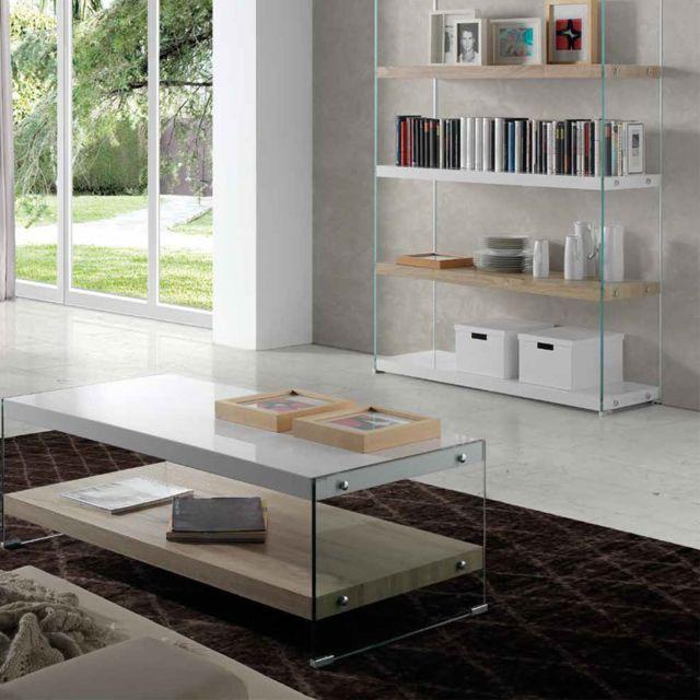 Nouvomeuble Table basse moderne couleur chêne clair et blanc laqué Manon