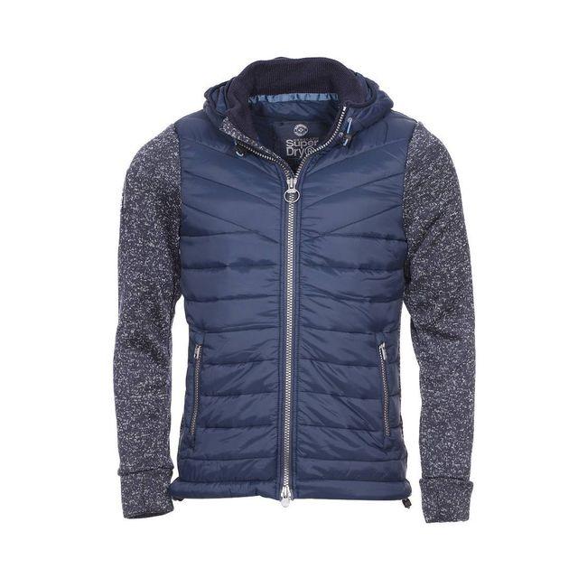 Superdry - Veste zippée à capuche Superdry matelassée bleu marine à manches  bleu indigo chiné 6ffcd162ea5c
