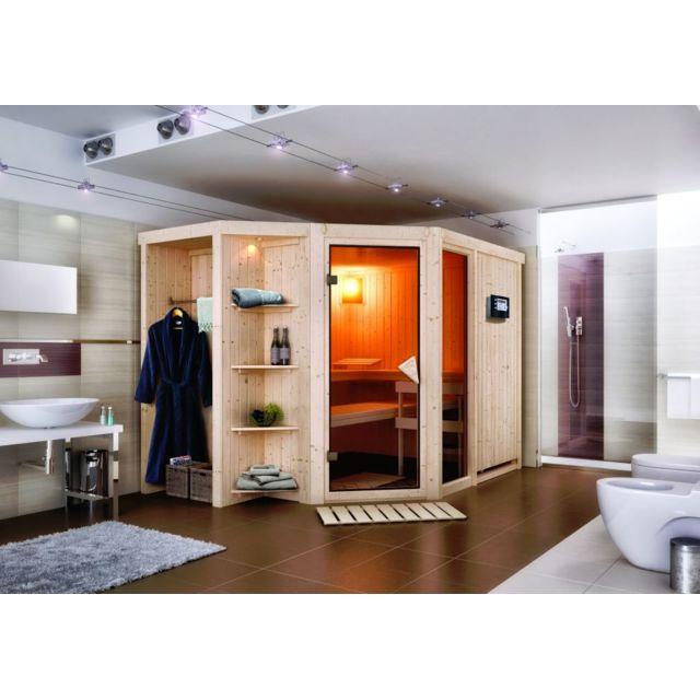 karibu sauna traditionnel 68 mm sjard 231 cm x 196 cm x. Black Bedroom Furniture Sets. Home Design Ideas