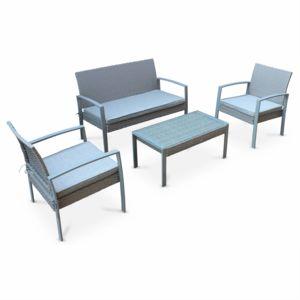ALICE'S GARDEN - Ensemble de jardin en résine tressée Vicenzo, salon 4 places gris, coussins gris chiné, fauteuil canapé table basse