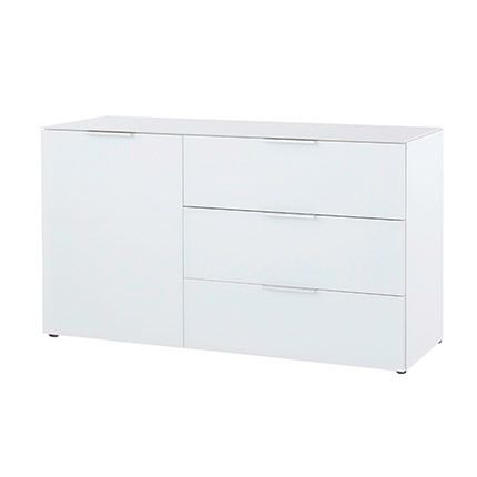 Commode 1 porte 3 tiroirs 100x61x42cm blanc - Lavin