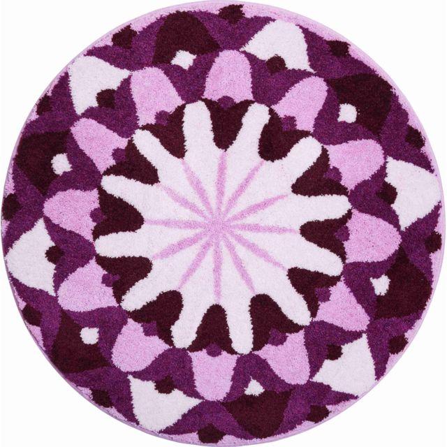 Esh - Tapis de salle de bain Knowledge violet rond 100 cm 100cm x ...