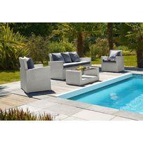 Dcb Factory - Salon de jardin confort 4 places rsine tresse Gris ...