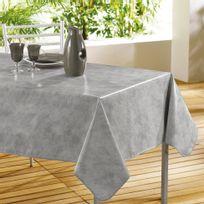 Bonareva - Cdaffaires Nappe rectangle 140 x 240 cm pvc faux uni beton cire Gris