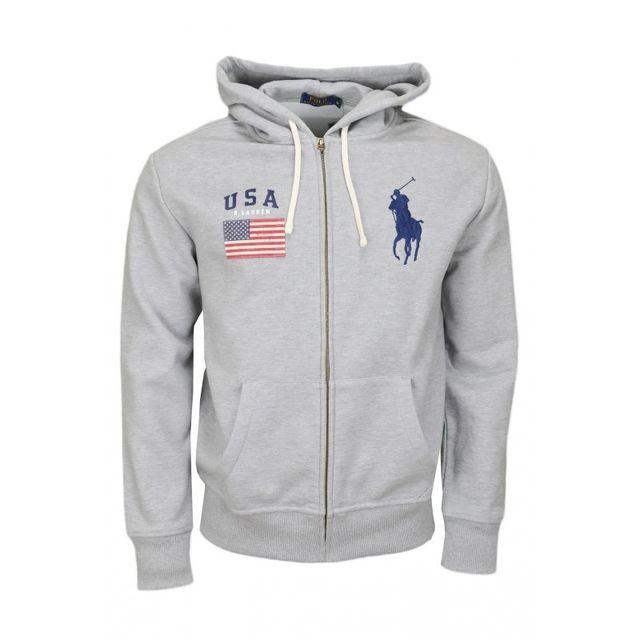 Ralph Lauren - Veste sweat zippée Ralph Lauren Big Poney grise pour homme 118eb21dd848