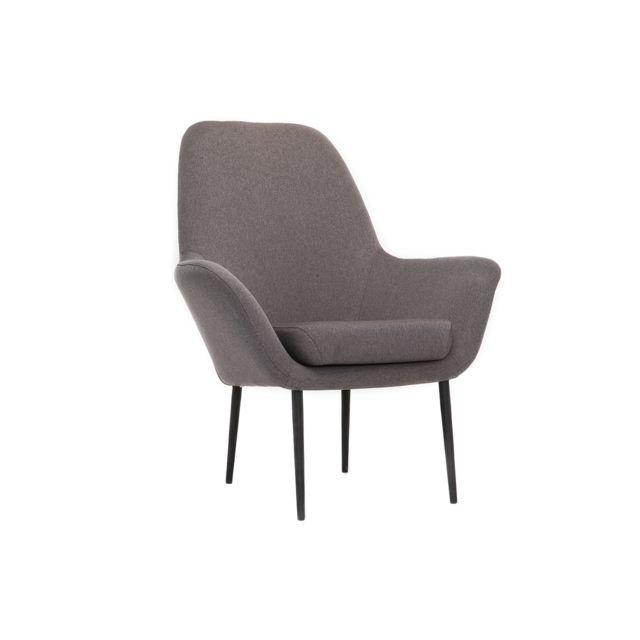 Miliboo Fauteuil design contemporain gris Oswald