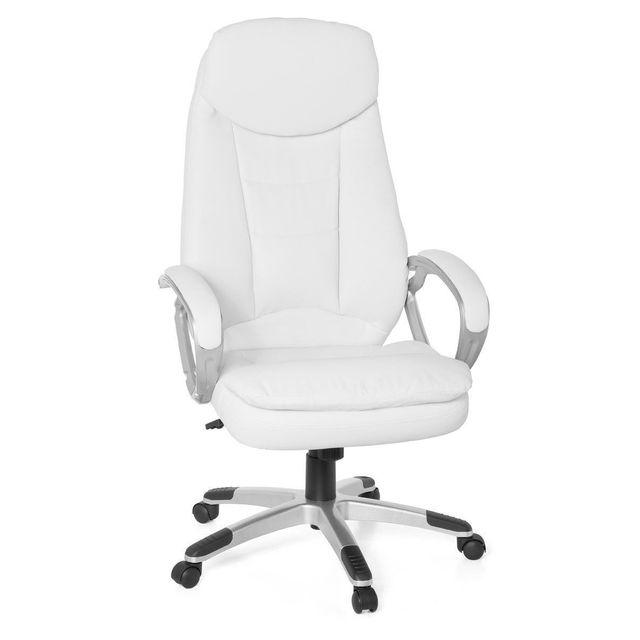 Comforium Fauteuil de bureau design en pvc coloris blanc