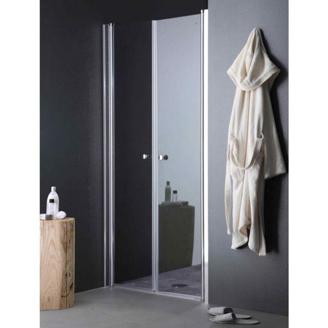kiamami valentina porte de douche ouverture a saloon pour niche de 80 cm pas cher achat. Black Bedroom Furniture Sets. Home Design Ideas
