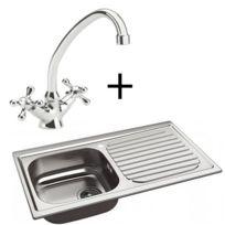 Whirlpool - Evier de cuisine en inox 1 bac et égouttoir à droite avec Robinet mitigeur