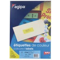 Apli - 1 Boîte de 2700 étiquettes, format 31 x 70 mm. Coloris jaune fluo