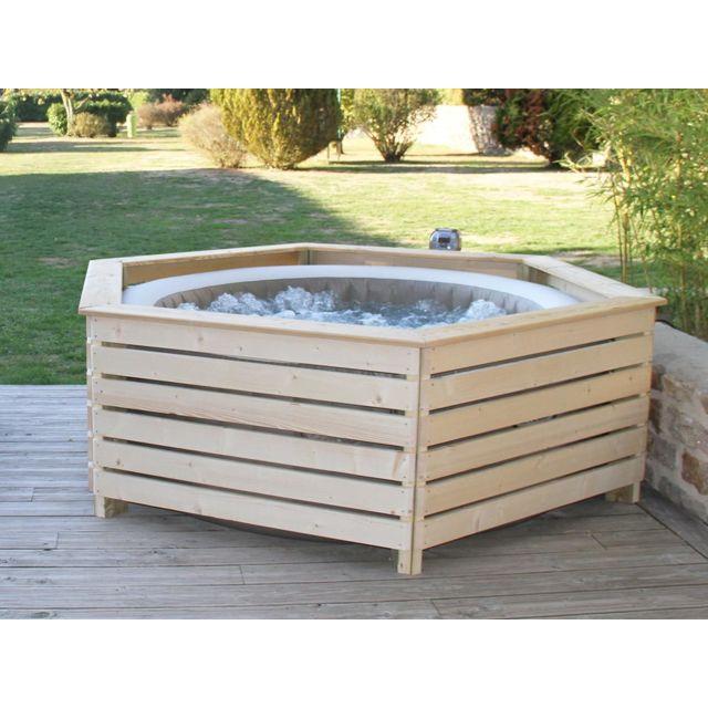 aquazendo habillage en bois spa gonflable intex pas. Black Bedroom Furniture Sets. Home Design Ideas