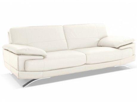 Linea Sofa Canapé 3 places cuir supérieur italien Emotion - Ivoire
