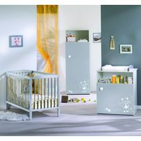 ALIBABY - Ensemble lit bébé + commode 1 porte TAMY