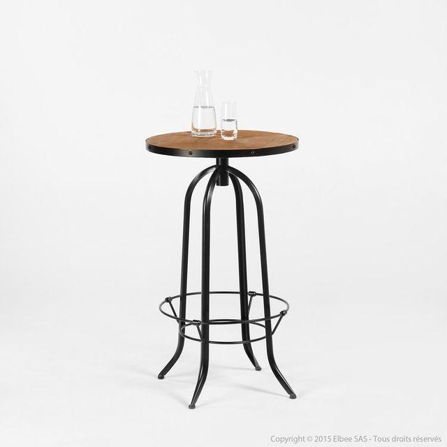 Akhal - Table de bar avec repose pieds en métal et bois Hauteur 100cm Manufacture Noir