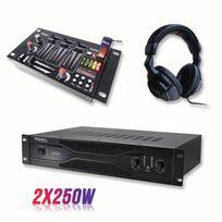 Ibiza Sound - Pack sonorisation amplificateur 500W Sa500 + Table de mixage 4 voies 7 entrées + Casque