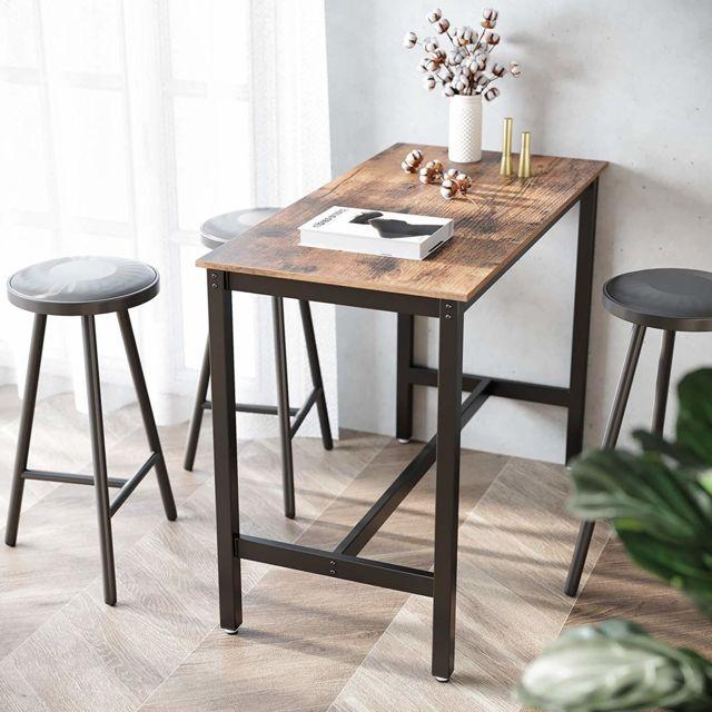 Vasagle Table Haute de Bar, Table Polyvalente avec Armature en Fer, pour Boissons, Cocktails, Bar, Brasserie, Restaurant, Salon,