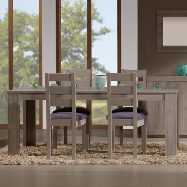 Kasalinea Table à manger 190 contemporaine couleur chêne gris Ivan