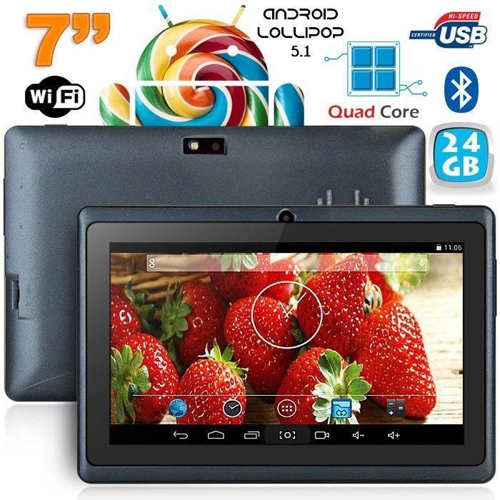 Tablette 7 pouces Bluetooth Quad Core Android 5.1 Lollipop 24Go Noir