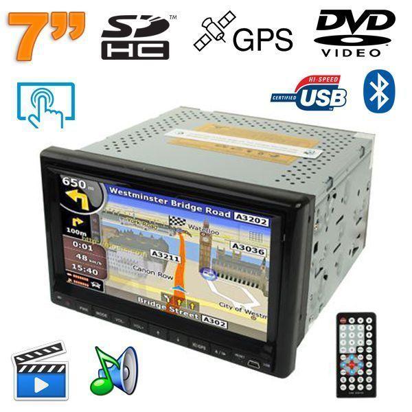 Yonis Lecteur Dvd auto Gps 7 pouces tactile Bluetooth autoradio noir