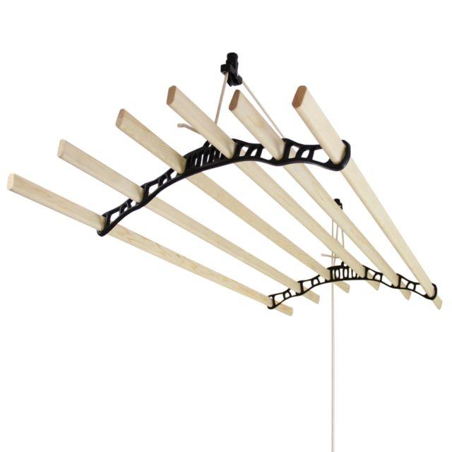 monstershop etendoir linge suspendu de 1 4 m tre supports en fonte et poulie noirs pas. Black Bedroom Furniture Sets. Home Design Ideas