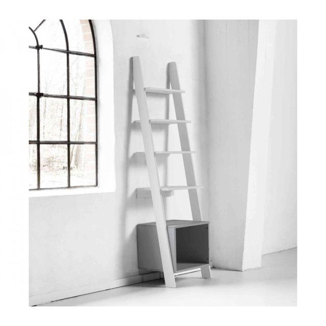 TERRE DE NUIT Étagère de rangement design bois blanc et gris