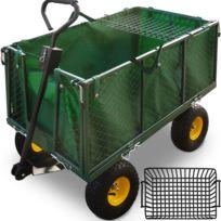 Rocambolesk - Superbe Chariot Remorque de transport jardin Côtés amovibles sur 4 roues Charrette avec Panier metallique Neuf