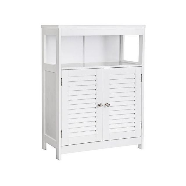 Vasagle meuble salle de bain armoire de rangement commode avec 2 portes claire voie blanc - Meuble salle de bain rue du commerce ...
